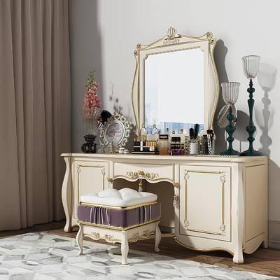 欧式简约, 欧简, 梳妆台, 凳子, 镜子, 化妆品