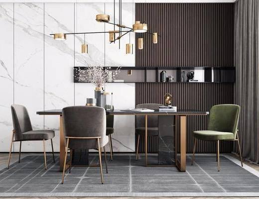 餐桌, 吊灯, 桌椅组合, 花瓶