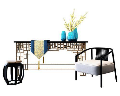 新中式桌椅, 桌椅组合, 单椅
