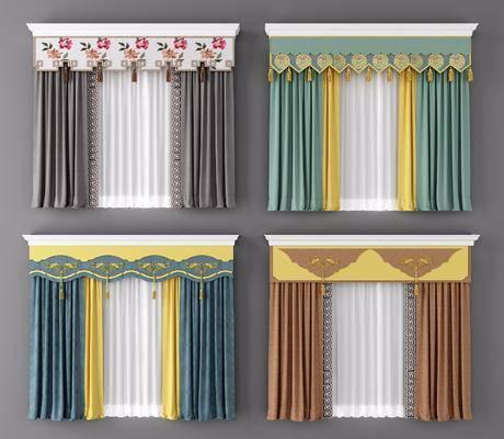 窗帘, 新中式窗帘, 布艺, 新中式