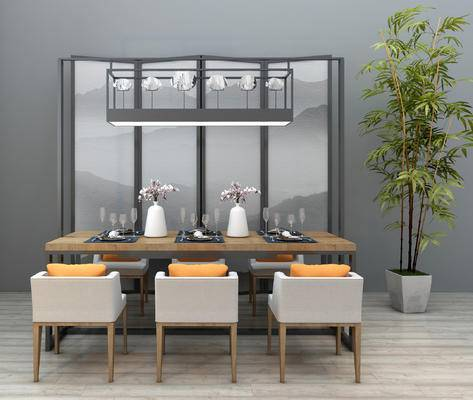 新中式, 餐桌椅, 中式, 桌椅组合, 椅子, 桌子, 餐具, 盆栽, 屏风, 吊灯