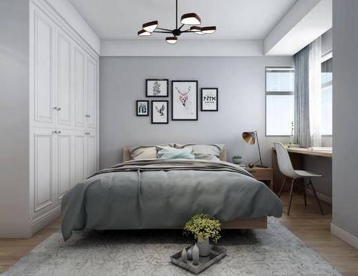 北欧, 双人床, 灯具, 休闲椅, 挂画