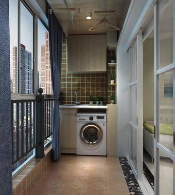 阳台, 洗衣机, ?#24405;? 盆栽, 绿植植物, 现代