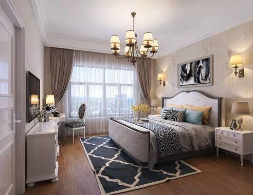 卧室, 美式卧室, 床, 床头柜, 椅子, 吊灯