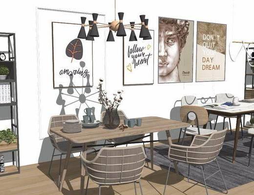 餐桌, 桌椅组合, 吊灯, 装饰画, 餐具, 置物柜