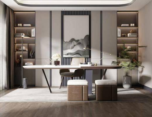 书桌, 桌椅组合, 背景墙, 书柜, 书籍