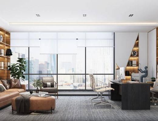 现代办公室, 总经理办公室, 沙发, 办公桌, 挂画