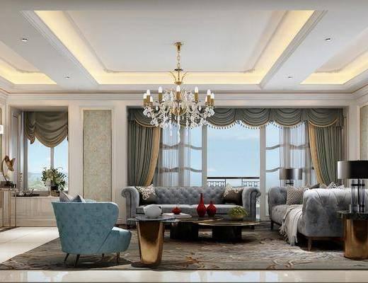 现代客厅, 简欧客厅, 客厅