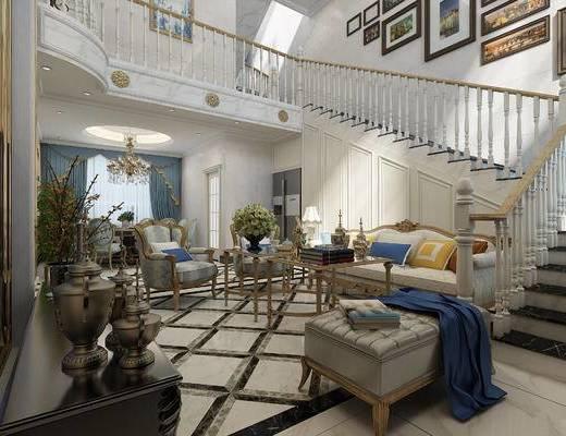 欧式, 别墅, 沙发组合, 茶几, 摆件