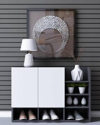 边柜, 鞋柜, 陈设品, 台灯, 装饰