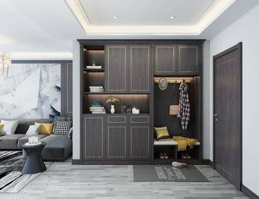 入户鞋柜, 装饰柜, 转角沙发, 吊灯, 边几, 摆件, 装饰品, 陈设品, 现代