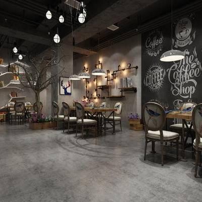 餐厅, 餐桌椅, 桌椅组合, 吊灯, 工业风