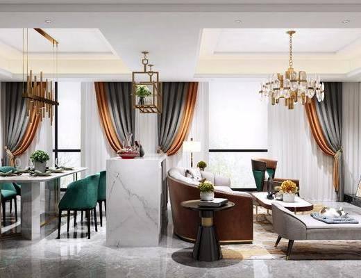 客厅餐厅, 多人沙发, 茶几, 单人沙发, 餐桌, 餐椅, 单人椅, 餐具, 吊灯, 边几, 台灯, 装饰画, 挂画, 摆件, 装饰品, 陈设品, 简欧