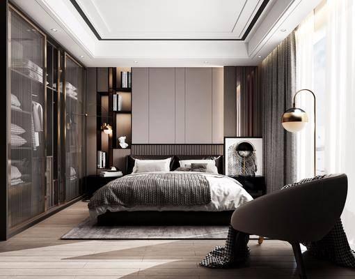 双人床, 床具组合, 落地灯, 单椅, 衣柜