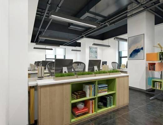 电脑桌, 置物柜, 会议室, 吊灯, 桌椅组合