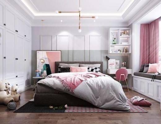 北欧卧室, 床具组合, 儿童玩具, 北欧吊灯, 床头柜, 衣柜, 盆栽