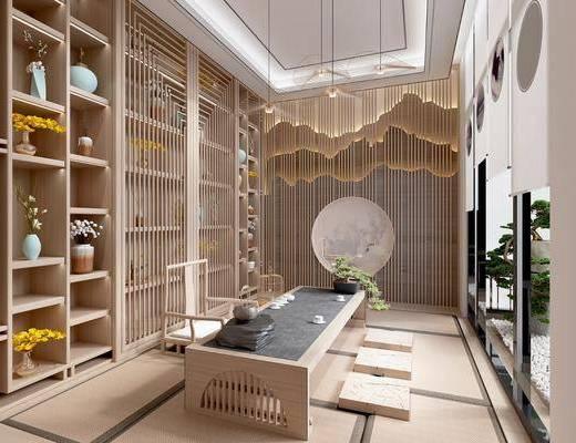 茶室, 茶桌椅组合, 装饰柜组合, 摆件组合, 吊灯组合, 日式