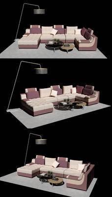 沙发组合, 沙发茶几组合, 茶几, 落地灯, 现代
