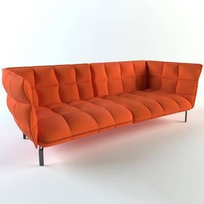 双人沙发, 现代沙发, 纯色沙发, 现代