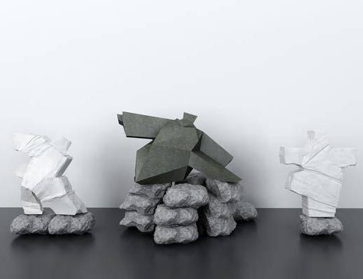 石头, 摆件组合, 现代