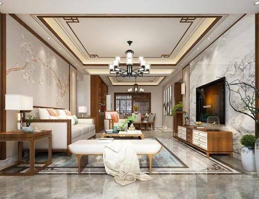 客廳, 餐廳, 沙發組合, 沙發茶幾組合, 餐桌椅組合, 邊柜組合, 擺件組合, 臺燈組合, 裝飾品組合, 吊燈組合, 壁燈組合, 新中式