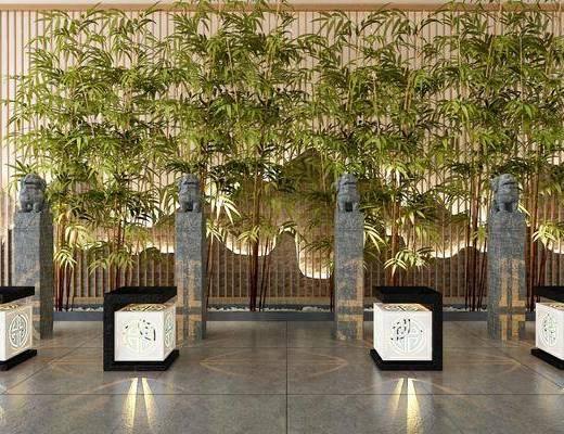 景观小品, 石狮子, 竹子, 落地灯, 新中式
