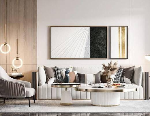 现代, 轻奢, 沙发, 组合