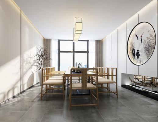 新中式茶室, 中式茶室, 茶桌, 茶具