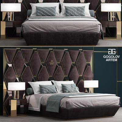 双人床, 后现代, 床头柜, 台灯, 现代