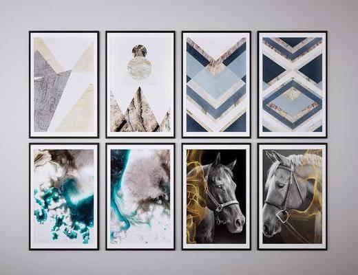 馬頭裝飾畫, 愛馬仕裝飾畫, 掛畫, 抽象畫, 藝術畫