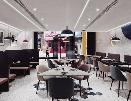 现代餐厅, 餐厅, 餐厅门头, 桌椅组合, 餐桌, 椅子, 吊灯, 卡座