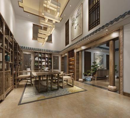新中式茶馆, 新中式茶室, 桌椅组合, 置物架, 摆件, 新中式吊灯, 挂画