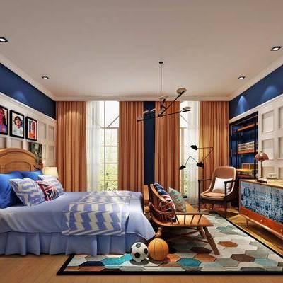 儿童房, 卧室, 后现代, 床, 吊灯, 床头柜, 台灯, 挂画, 边柜, 装饰柜, 椅子
