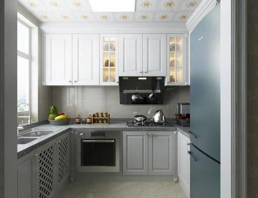 厨房, 橱柜, 冰箱, 水果, 简欧