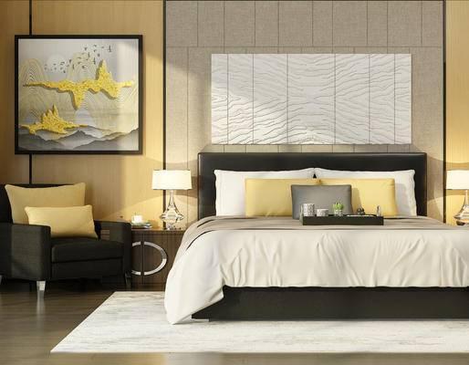 现代, 床具, 双人床, 挂画, 台灯, 床头柜, 单人椅, 沙发, 摆件