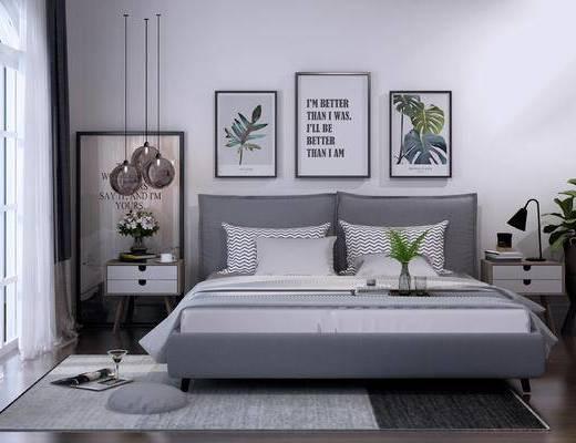 床, 北欧, 现代, 吊灯, 装饰画, 双人床