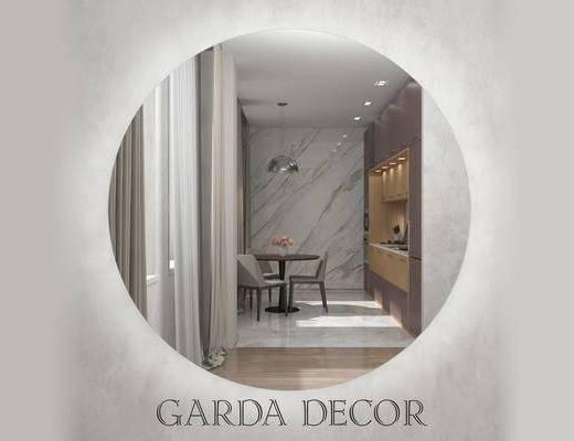 现代简约, 简约装饰镜, 圆形装饰镜, 装饰镜