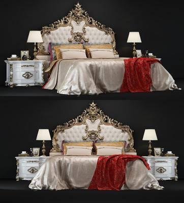 床, 欧式, 欧式床, 欧式床头柜, 床品, 欧式台灯