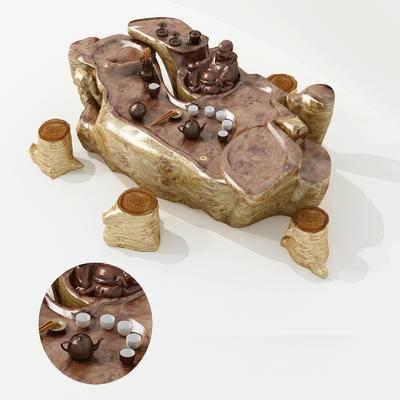 茶桌, 茶具组合, 根雕茶海