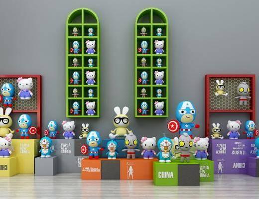 儿童玩具, 玩偶, 毛绒玩偶, 玩具展柜, 现代, 展柜组合