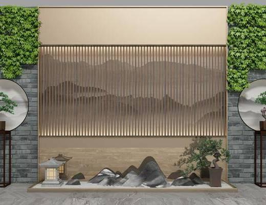 园艺小品, 植物, 盆栽, 端景台, 新中式园艺小品, 新中式, 背景墙