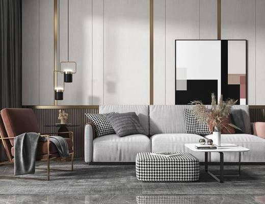 沙发组合, 茶几, 吊灯, 单椅, 边几, 摆件组合