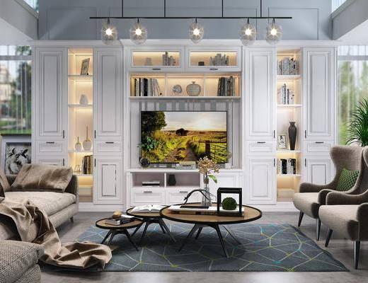 客厅, 电视柜, 单人沙发, 茶几, 转角沙发, 书柜, 装饰柜, 书籍, 摆件, 装饰品, 陈设品, 北欧