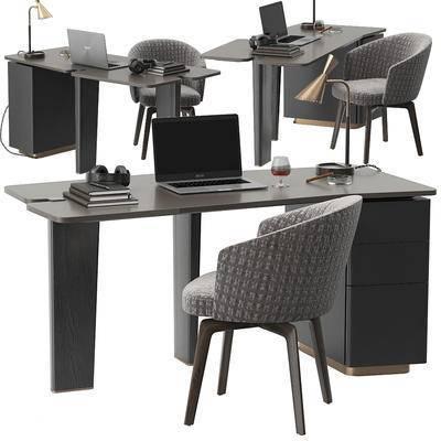 现代, 办公桌, 办公椅, 椅子, 休闲椅, 电脑, 笔记本, 台灯, 耳机, 书籍, 红酒