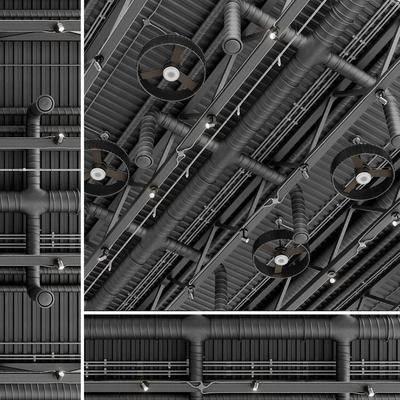 工业通风管道, 风扇, 射灯, 管道, 通风管道, 工业风, 现代