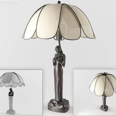 台灯, 雕像台灯, 新古典