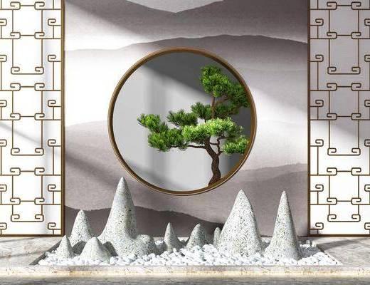 园林假山, 园艺小品, 树木, 隔断组合, 植物, 新中式
