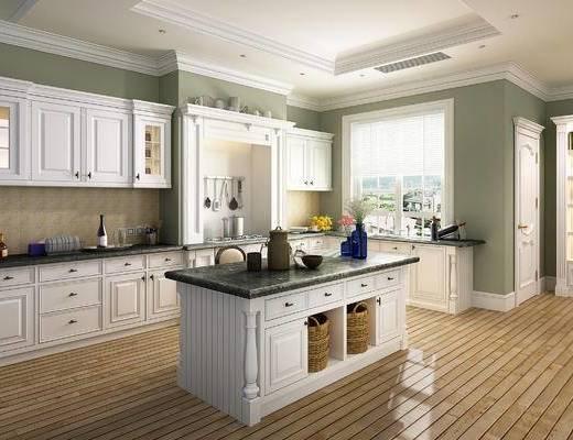 美式, 简美, 简欧, 厨房, 法式, 橱柜, 厨具, 餐具, 田园