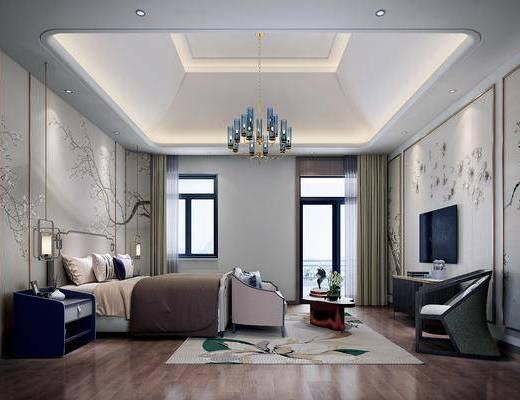 卧室, 双人床, 床头柜, 多人沙发, 茶几, 单人沙发, 电视柜, 边柜, 装饰柜, 吊灯, 新中式