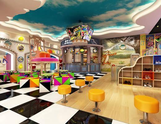 幼儿园, 玩具, 装饰柜, 鞋柜, 凳子, 墙饰, 装饰品, 陈设品, 现代